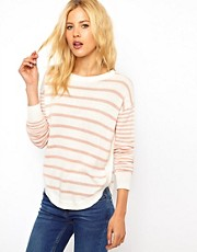 ASOS Jumper In Stripe With Button Side