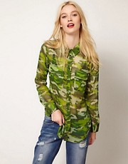 Equipment Slim Signature Shirt in Camo Print Chiffon