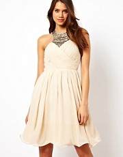 Little Mistress Embellished Collar Skater Dress