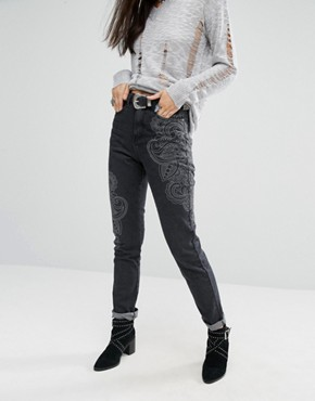 Glamorous Tonal Print Mom Jeans