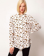 Equipment Signature 2 Pocket Silk Shirt in Butterfly Print