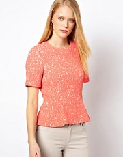 Whistles Fluro Animal Jacquard Peplum Top