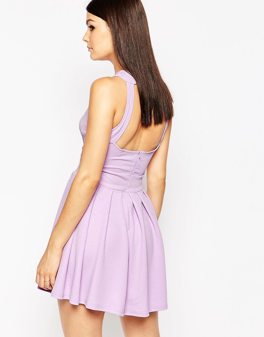 AX Paris Skater Dress with Open Back and Pleat Skirt - Purple