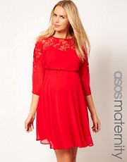 ASOS Maternity Skater Dress With Lace Top