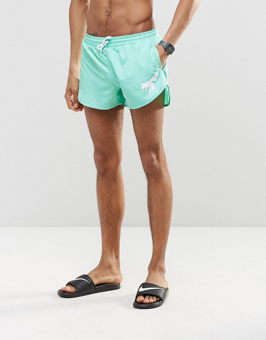 Product photo of Abuze london short swim shorts in aqua green green