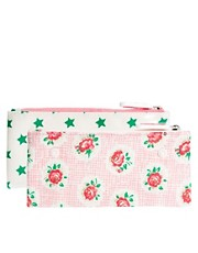Cath Kidston Lattice Rose &amp; Stars Double Zip Make-Up Bag