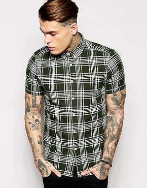 ASOS Check Shirt In Short Sleeve With Linen Mix