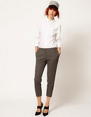 Chalayan Grey Line Zip Trousers In Herringbone