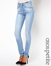 ASOS PETITE Ridley Supersoft High Waisted  Ultra Skinny Jean In Ice Blue  Vintage Wash