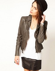 Muubaa Sharp Shouldered Leather Biker Jacket in Taupe