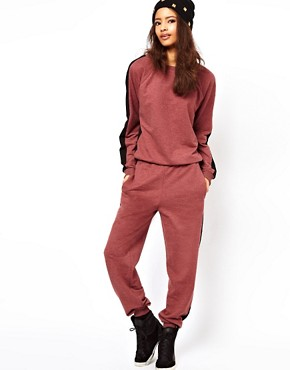 Image 1 of ASOS Onesie With Side Stripe