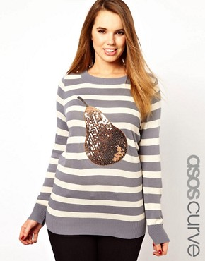 Image 1 ofASOS CURVE Exclusive Jumper With Sequin Pear