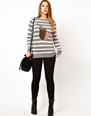 Image 4 ofASOS CURVE Exclusive Jumper With Sequin Pear