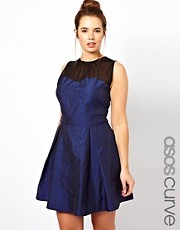 ASOS CURVE Exclusive Jacquard Dress With Mesh