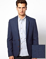 ASOS Skinny Fit Suit Jacket in Blue Dogstooth