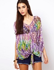 Traffic People Sheer Silk Tie Top In Feather Print