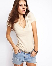 Free People Toosaloosa Slub Jersey Tee with Crochet Inserts