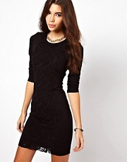 By Zoe Jersey Shift Dress With Lace Panel