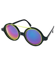 Jeepers Peepers Sport Vintage Round Neon Sunglasses