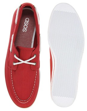 Image 3 of ASOS Herringbone Canvas Boat Shoes
