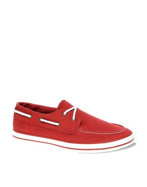 Image 1 of ASOS Herringbone Canvas Boat Shoes
