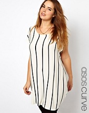 ASOS CURVE T-Shirt With Vertical Stripe