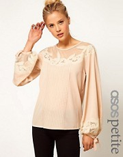ASOS PETITE Blouse With Floral Embroidery And Balloon Sleeve