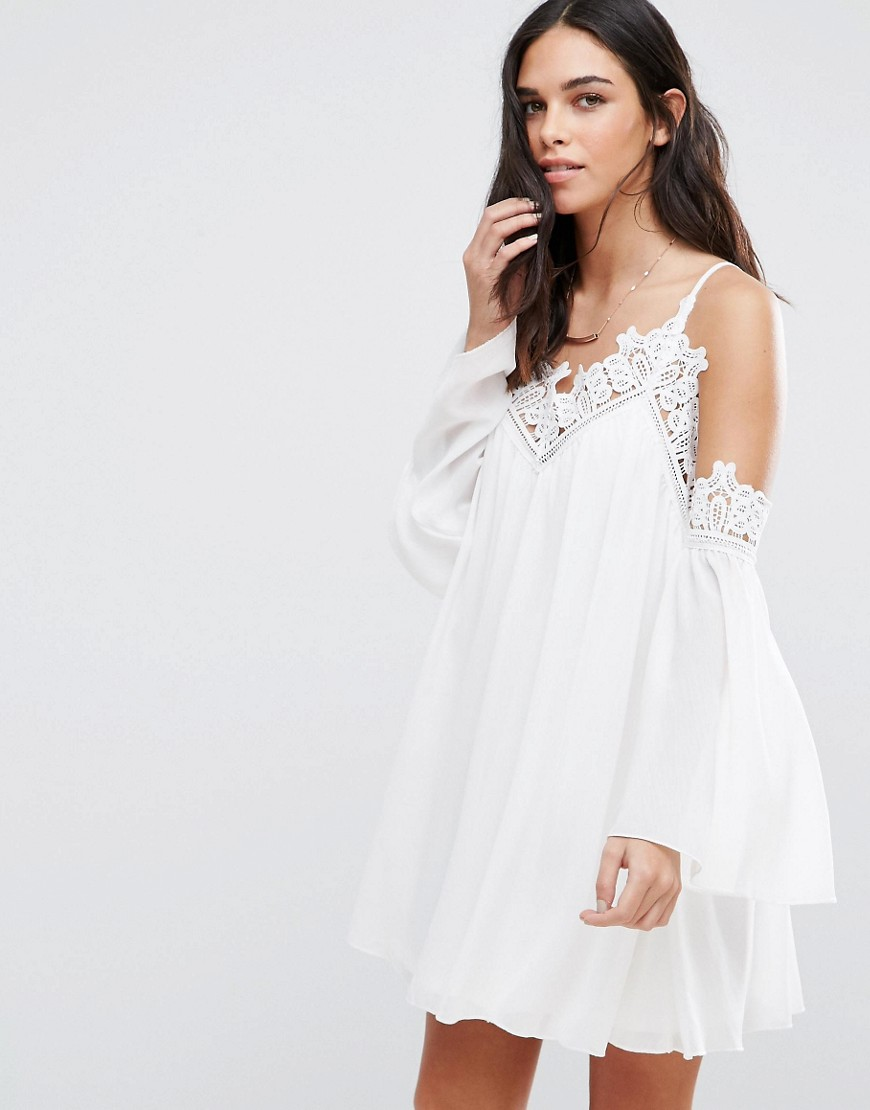 Parisian Cold Shoulder Smock Dress With Crochet Detail - White