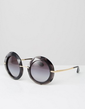 Dolce & Gabanna Oversized Round Sunglasses in Black