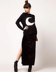 Evil Twin &#39;Cursed&#39; Side Split Velvet Maxi Skirt