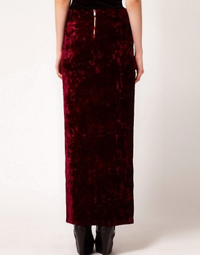 Image 2 ofEvil Twin &#39;Cursed&#39; Side Split Velvet Maxi Skirt