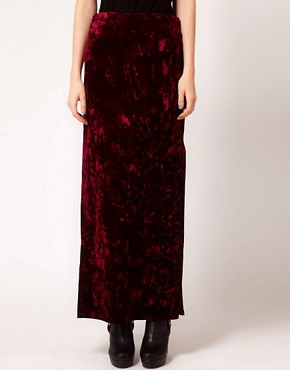 Image 4 ofEvil Twin &#39;Cursed&#39; Side Split Velvet Maxi Skirt
