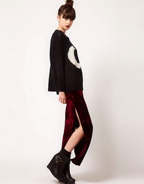 Image 1 ofEvil Twin &#39;Cursed&#39; Side Split Velvet Maxi Skirt