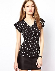 A Wear Ruffle Wrap Top In Butterfly Print