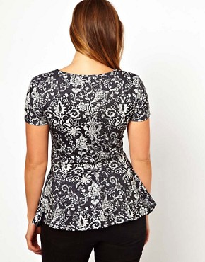 Image 2 of ASOS CURVE Exclusive Peplum Top In Wallpaper Print