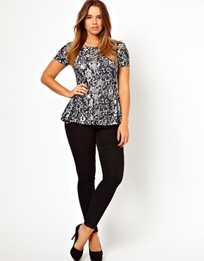 Image 4 of ASOS CURVE Exclusive Peplum Top In Wallpaper Print