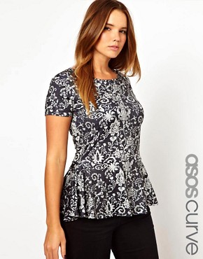 Image 1 of ASOS CURVE Exclusive Peplum Top In Wallpaper Print