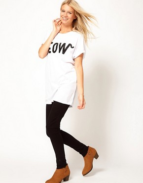 Image 4 ofASOS T-Shirt with Meow Print