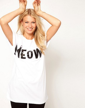 Image 1 ofASOS T-Shirt with Meow Print