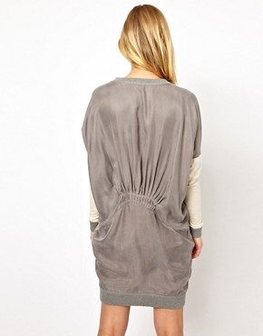 Image 2 of Selected Milla Oversized Sweat Dress with Woven Panels
