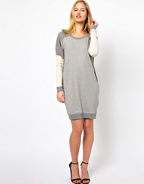 Image 4 of Selected Milla Oversized Sweat Dress with Woven Panels