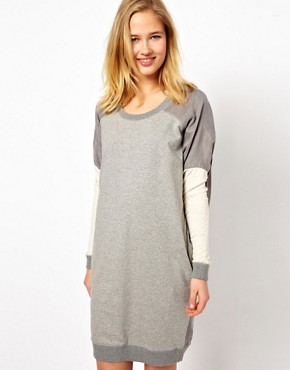 Image 1 of Selected Milla Oversized Sweat Dress with Woven Panels