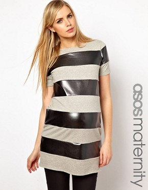 Image 1 ofASOS Maternity Tunic In Metallic Stripe