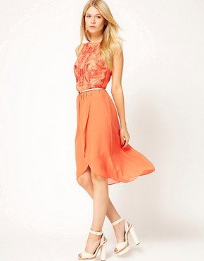 Image 1 ofOasis Exclusive To ASOS Dipped Hem Dress