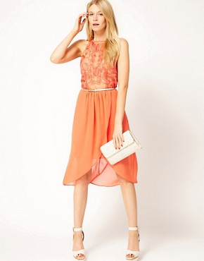 Image 4 ofOasis Exclusive To ASOS Dipped Hem Dress