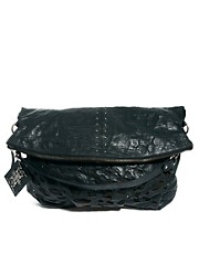 Religion Leather Slouchy Laser Cut Shoulder Bag