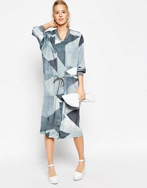 ASOS WHITE Bomber Dress in Graphic Spray Print