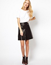 Whistles Box Pleat Leather Skirt