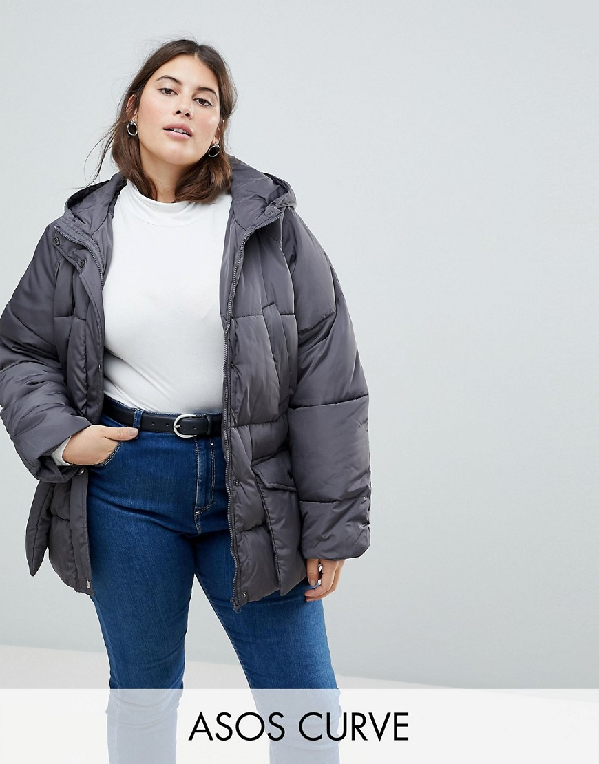 ASOS CURVE Puffer With Pocket Detail - Grey