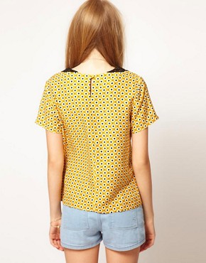Image 2 ofASOS Top With Daisy Print And Crochet Collar